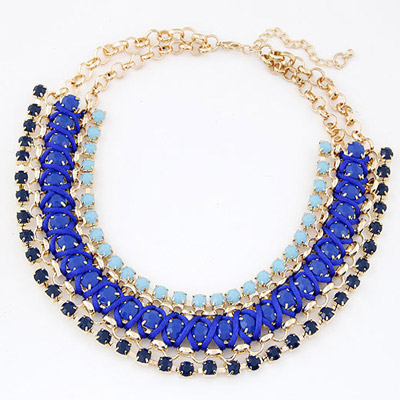 Lightest Blue Gemstone Decorated Multilayer Weave Design