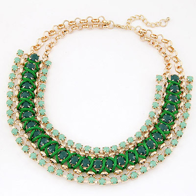 Fair Green Gemstone Decorated Multilayer Weave Design Alloy Bib Necklaces