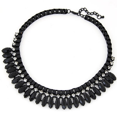Outdoor Black Diamond Decorated Simple Design Alloy Bib Necklaces