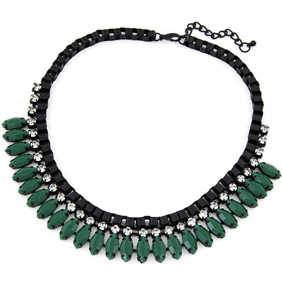 Fit Green Diamond Decorated Simple Design Alloy Bib Necklaces