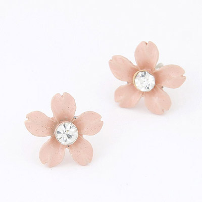 Executive Pink Diamond Decorated Flower Design Alloy Stud Earrings