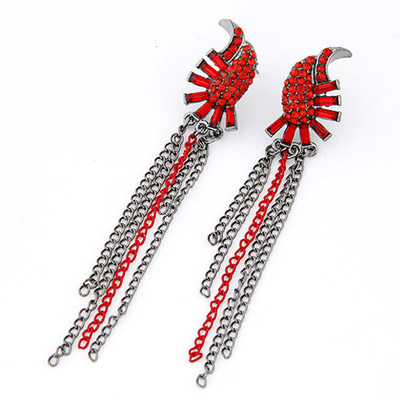 Spiritual Red Diamond Decorated Tassel Design Alloy Stud Earrings
