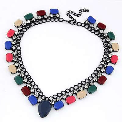 Reversible Multicolor Diamond Decorated Fake Collar Design Alloy Bib Necklaces