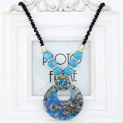Vibrating Blue Beads Decorated Round Pendant Design Bead Bib Necklaces
