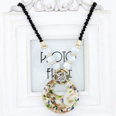Tall White Beads Decorated Round Pendant Design Bead Bib Necklaces