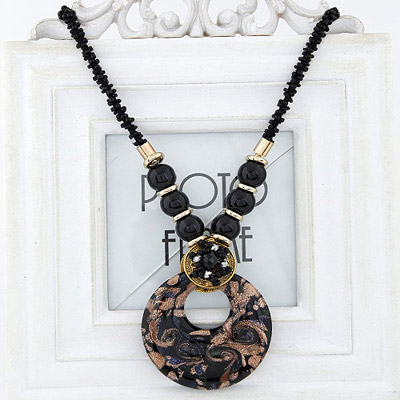 Photograph Black Beads Decorated Round Pendant Design Bead Bib Necklaces