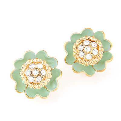 Caterpilla Ligth Green Diamond Decorated Flower Design Alloy Stud Earrings