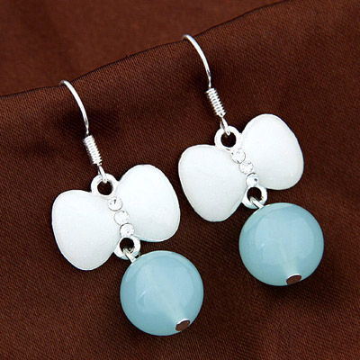Streamline Blue Diamond Decorated Bowknot Shape Design Alloy Korean Earrings