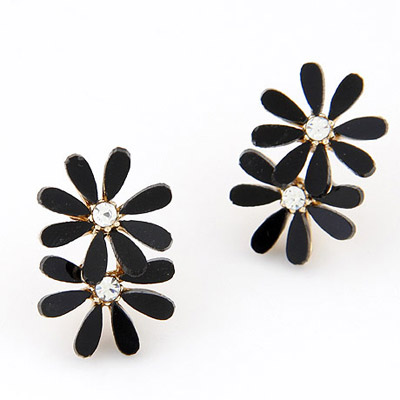 Cheerleadi Black Diamond Decorated Flower Simple Design