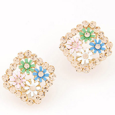 Graduation Multicolor Flower Decorated Square Shape Design Alloy Stud Earrings