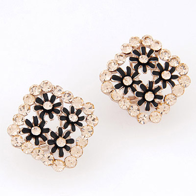 Boxed Black Flower Decorated Square Shape Design Alloy Stud Earrings