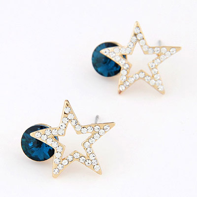 Wonderful Navy Blue Diamond Decorated Star Shape Design Alloy Stud Earrings