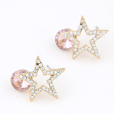 Genuine Light Purple Diamond Decorated Star Shape Design Alloy Stud Earrings