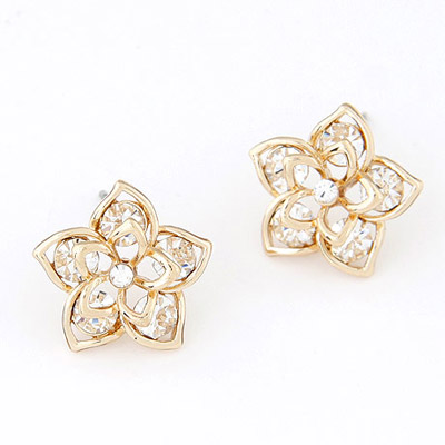 Childrens Gold Color Diamond Decorated Flower Simple Design
