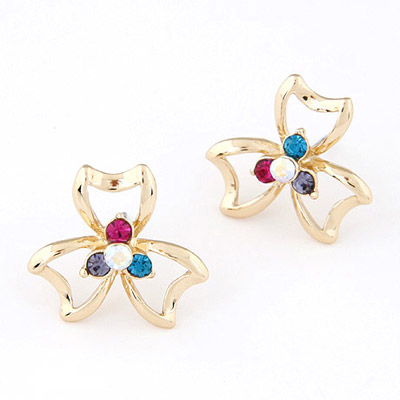 Marvelous Multicolor Diamond Decorated Clover Shape Design Alloy Stud Earrings