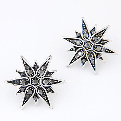 Coral Gun Black Diamond Decorated Flower Simple Design Alloy Stud Earrings