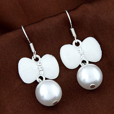 Portable White Diamond Decorated Bowknot Shape Design Alloy Korean Earrings