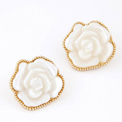 Cool White Rose Flower Shape Simple Design Alloy Stud Earrings