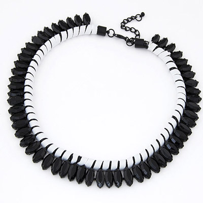Carters Black Beads Decorated Weave Simple Design Alloy Bib Necklaces