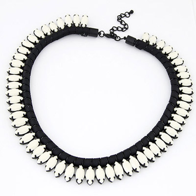 Infant White Beads Decorated Weave Simple Design Alloy Bib Necklaces
