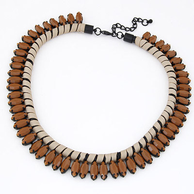 Unique Brown Beads Decorated Weave Simple Design Alloy Bib Necklaces