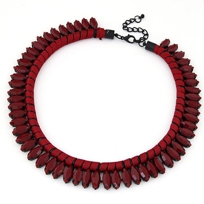 Mobile Claret-red Beads Decorated Weave Simple Design Alloy Bib Necklaces