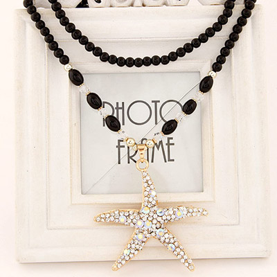 Locket Gold Color Diamond Decorated Starfish Pendant Design Alloy Beaded Necklaces