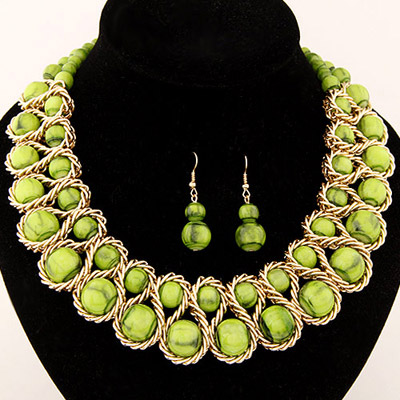 Classic Green Candy Color Beads Decorated Weave Design Alloy Jewelry Sets