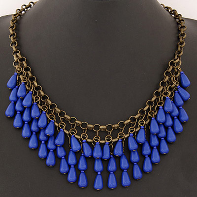 Guardian Sapphire Blue Waterdrop Shape Decorated Double Layer Design Alloy Bib Necklaces