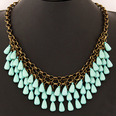 Caterpilla Light Blue Waterdrop Shape Decorated Double Layer Design Alloy Bib Necklaces