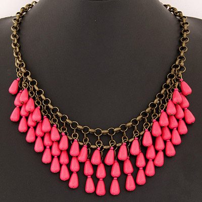 Healing Plum Red Waterdrop Shape Decorated Double Layer Design Alloy Bib Necklaces