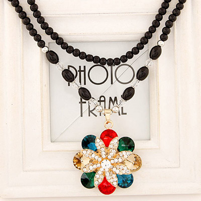 Baltic Multicolor Diamond Decorated Flower Pendant Design Alloy Bib Necklaces