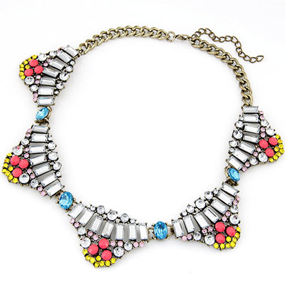 Little Multicolor Gemstone Decorated Fake Collar Shape Design