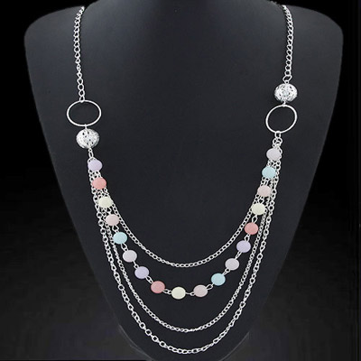 Flip Silver Color Candy Color Beads Decorated Simple Design Alloy Chains