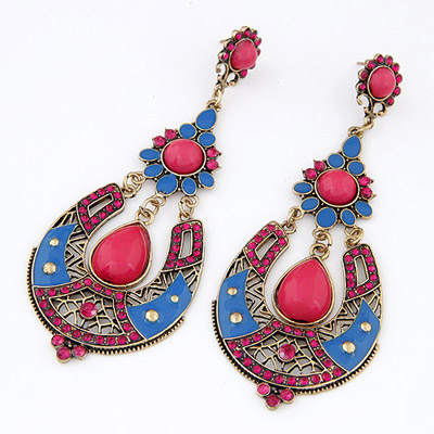 Cardboard Plum Red Gemstone Decorated Waterdrop Shape Design Alloy Stud Earrings