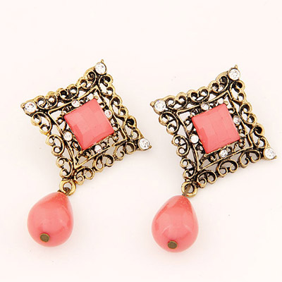 Catholic Pink Diamond Decorated Hollow Out Square Shape Design Alloy Stud Earrings