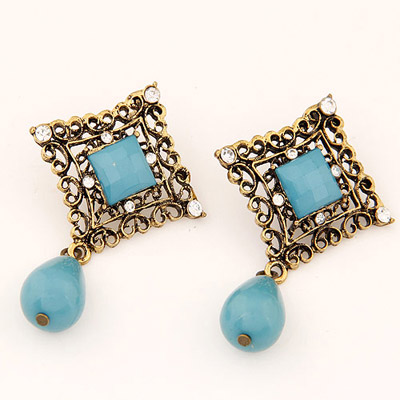 Limited Blue Diamond Decorated Hollow Out Square Shape Design Alloy Stud Earrings