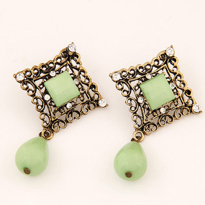 Hydraulic Light Green Diamond Decorated Hollow Out Square Shape Design Alloy Stud Earrings