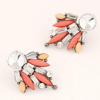 Hiphop Orange Diamond Decorated Geometrical Shape Design Alloy Stud Earrings