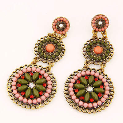 Healing Dark Green Gemstone Decorated Flower Design Alloy Stud Earrings