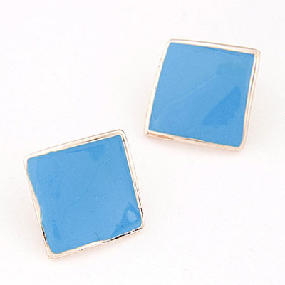 Adjustable Blue Pure Square Shape Decorated Simple Design Alloy Stud Earrings
