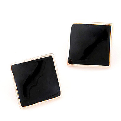 Clutch Black Pure Square Shape Decorated Simple Design Alloy Stud Earrings