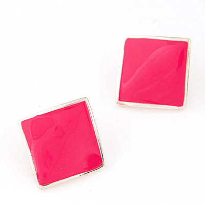 Magnetic Plum Red Pure Square Shape Decorated Simple Design Alloy Stud Earrings