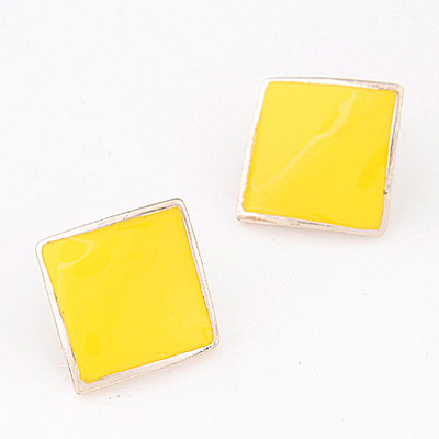 Bendable Yellow Pure Square Shape Decorated Simple Design Alloy Stud Earrings