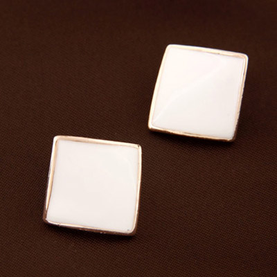 Inspired White Pure Square Shape Decorated Simple Design Alloy Stud Earrings