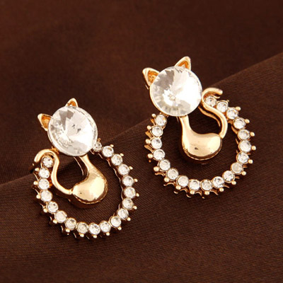 Fair White Diamond Decorated Cat Shape Design Alloy Stud Earrings
