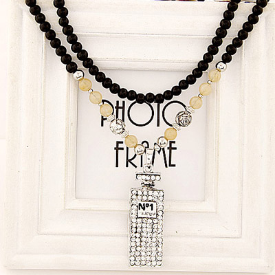 Long White Diamond Decorated Perfume Bottles Pendant Design Alloy Beaded Necklaces