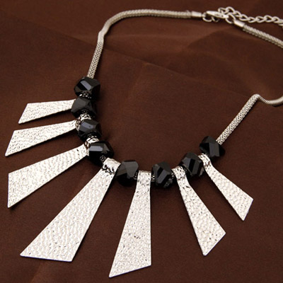 Sullen Silver Color Triangle Shape Decorated Simple Design Alloy Bib Necklaces