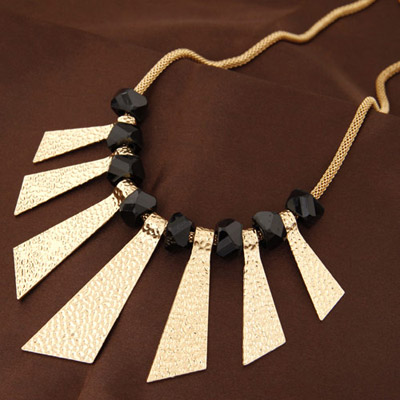 Players Gold Color Triangle Shape Decorated Simple Design Alloy Bib Necklaces