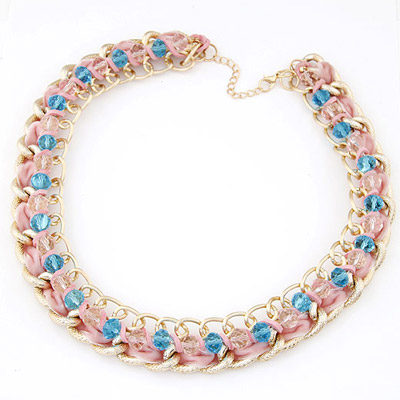 Discount Pink Beads Weave Simple Design Alloy Bib Necklaces